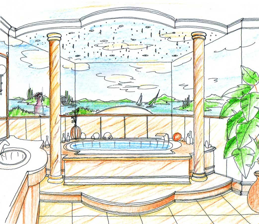 Luxus Marmor Themen Bad Bäder mit Trompe l´oeil Malerei und Sternenhimmel - in der Interior Design Planung von Milo