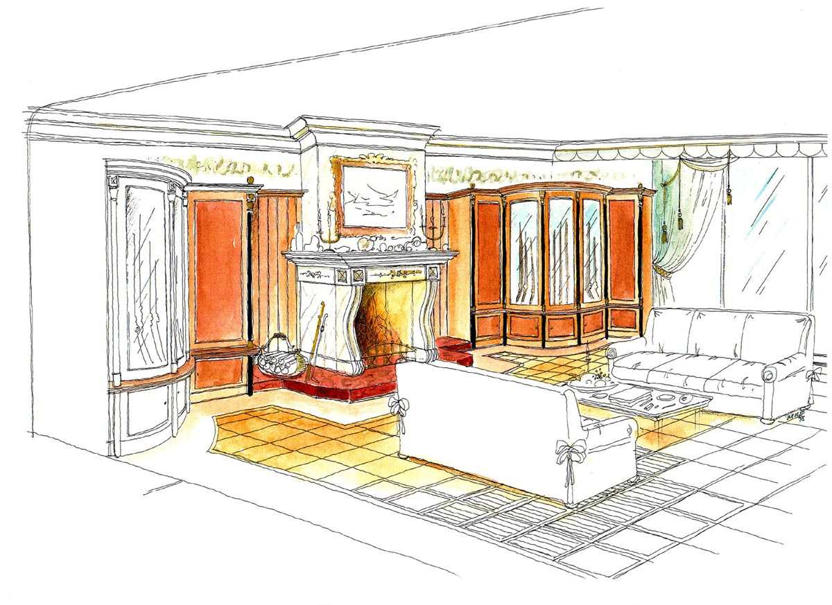 Luxus Villa Hamburg - neuer Wintergarten mit Kamin - Wohlfühl Ausstattung und Interior Design Planung von Milo