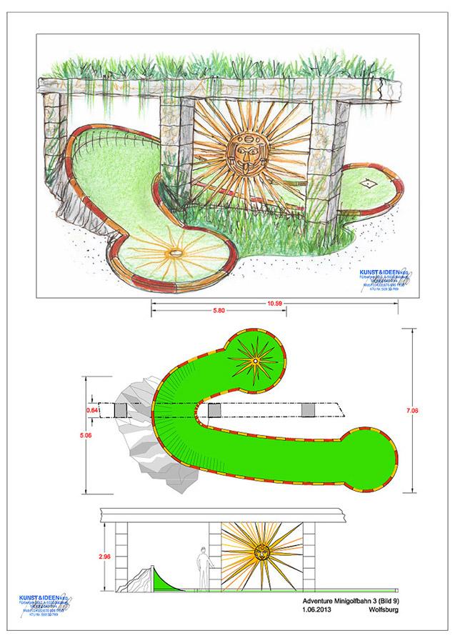 Abenteuer Minigolf Themenausstattung - dekorative Architektur Fragmente und eine opulente Gartenausstattung - Konzept Design Planung Milo