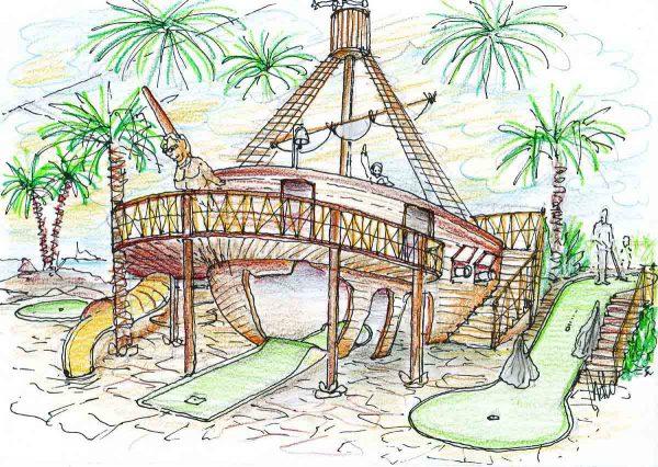 Minigolf Indoor Adventure Abenteuer - Spiel Park Pirates - in Ausstattung Design Planung