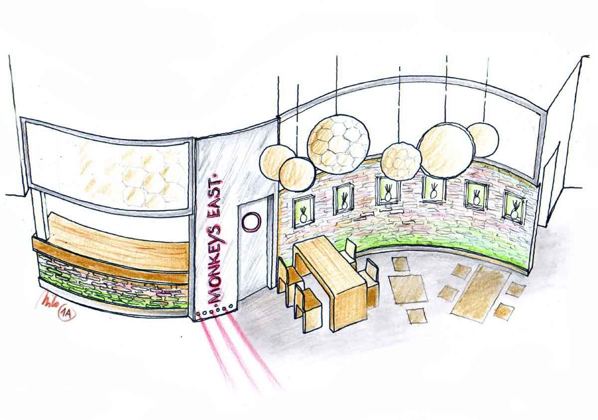 Neue optische Gestaltung des bestehende Lokal Mittelteiles im Monkey East - Interior Design Ausstattung