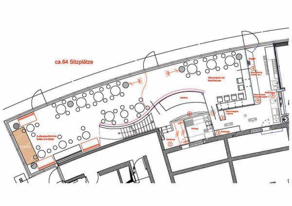Sushi Gastronomie Monkey East - neue Grundrissplanung und Interior Design Konzept von Milo