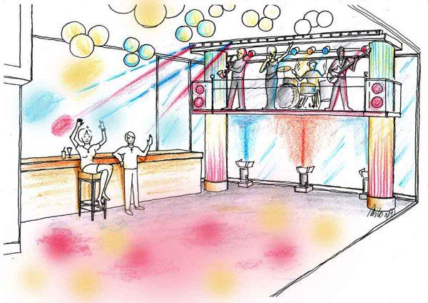 Vom Sushi Restaurant zur Musik Bar - Raum Licht und Interior Design Konzept Milo