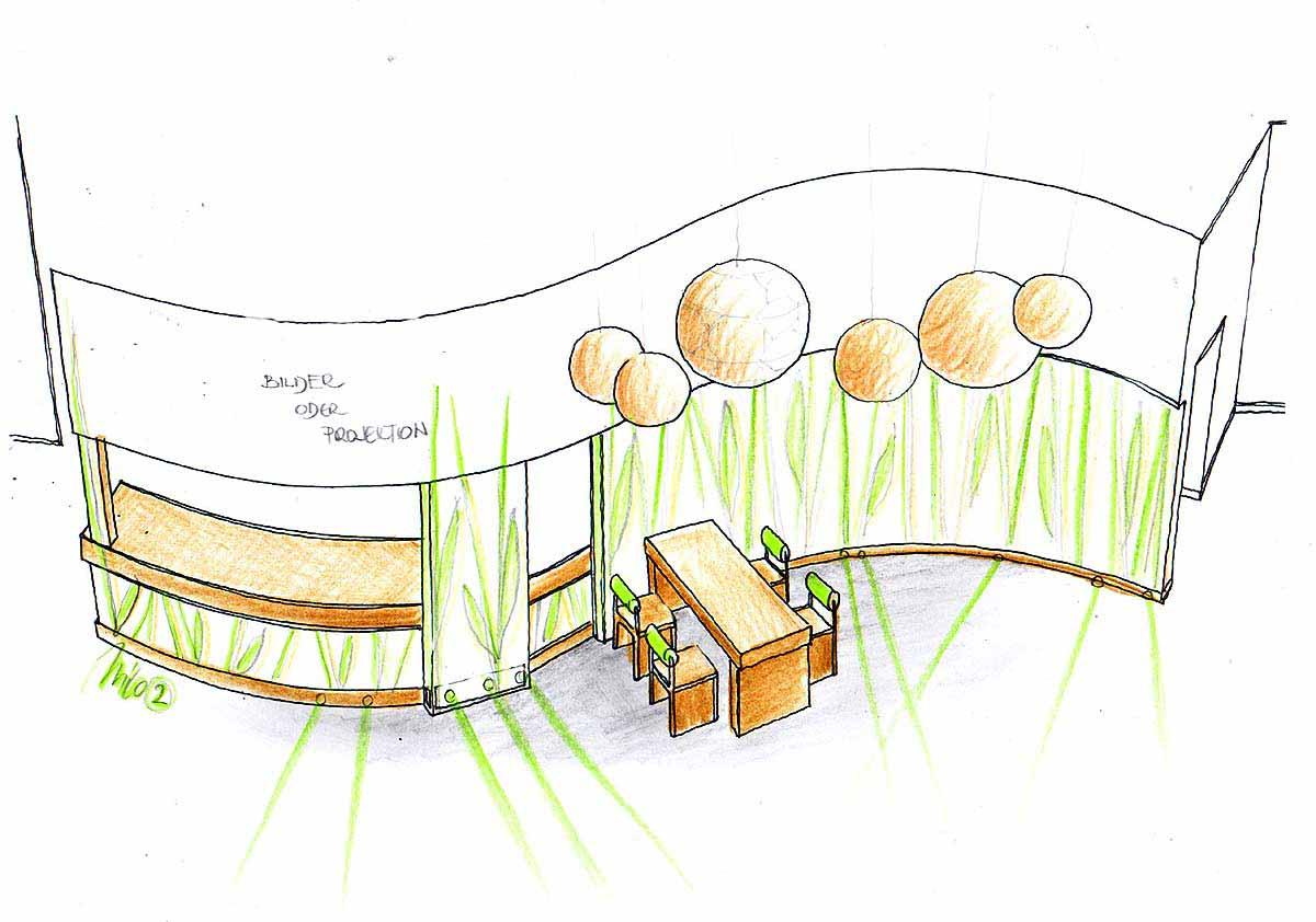 Neue Interior Design Gestaltung des bestehenden Lokal Mittelteiles - mit floralen Themen und eleganten Licht Effekten