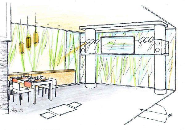 Sushi Restaurant Gastronomie Bereich - mit Lichtbrücke - die an den Wochenenden zur Musik Bar umfunktioniert wird