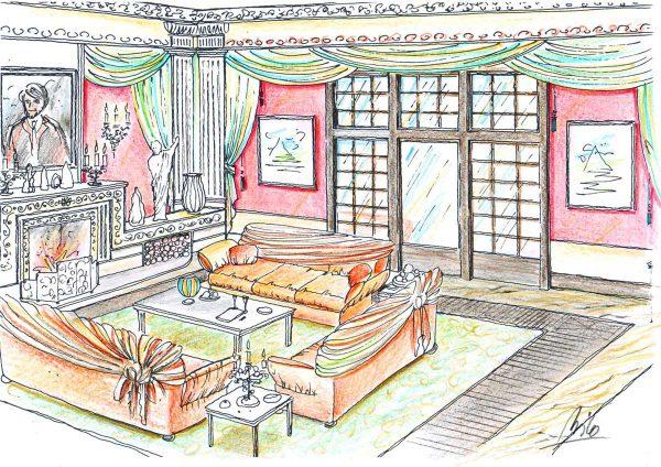 Moskau Luxus Datscha - klassische und opulente Raum Ausstattung - ein gemütliches Herrenzimmer in Milo´s Interior Design Planung und Ausstattung