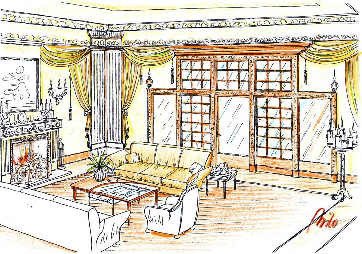 Luxus Datscha Moskau - klassisch elegantes Raum Design, im Zentrum eine offene Feuerstelle - in Milo´s Innenarchitektur Interior Design Planung