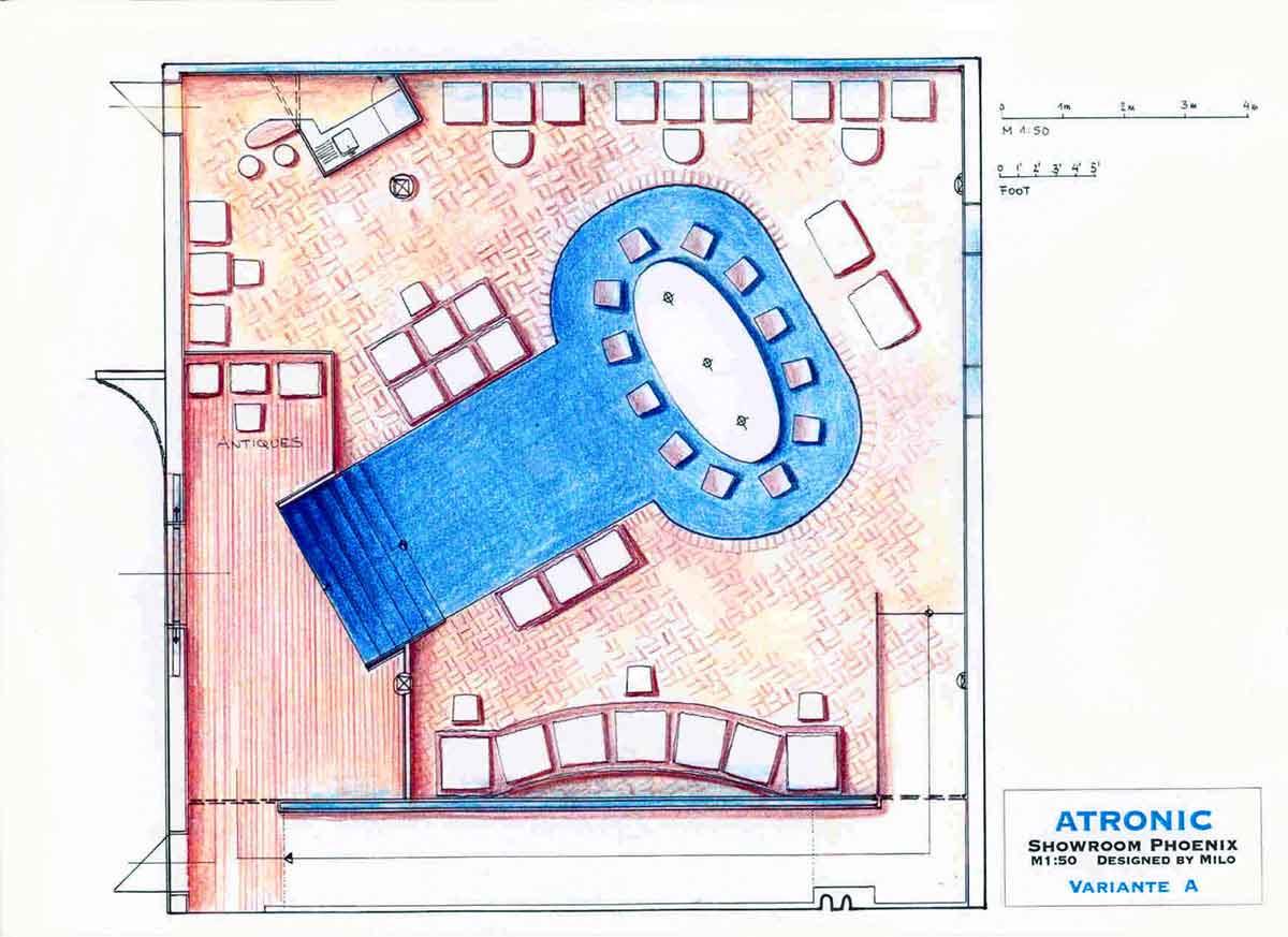 Atronic Showroom in Phoenix USA - farbiger Grundriss für Präsentationen und Gesprächsbereiche