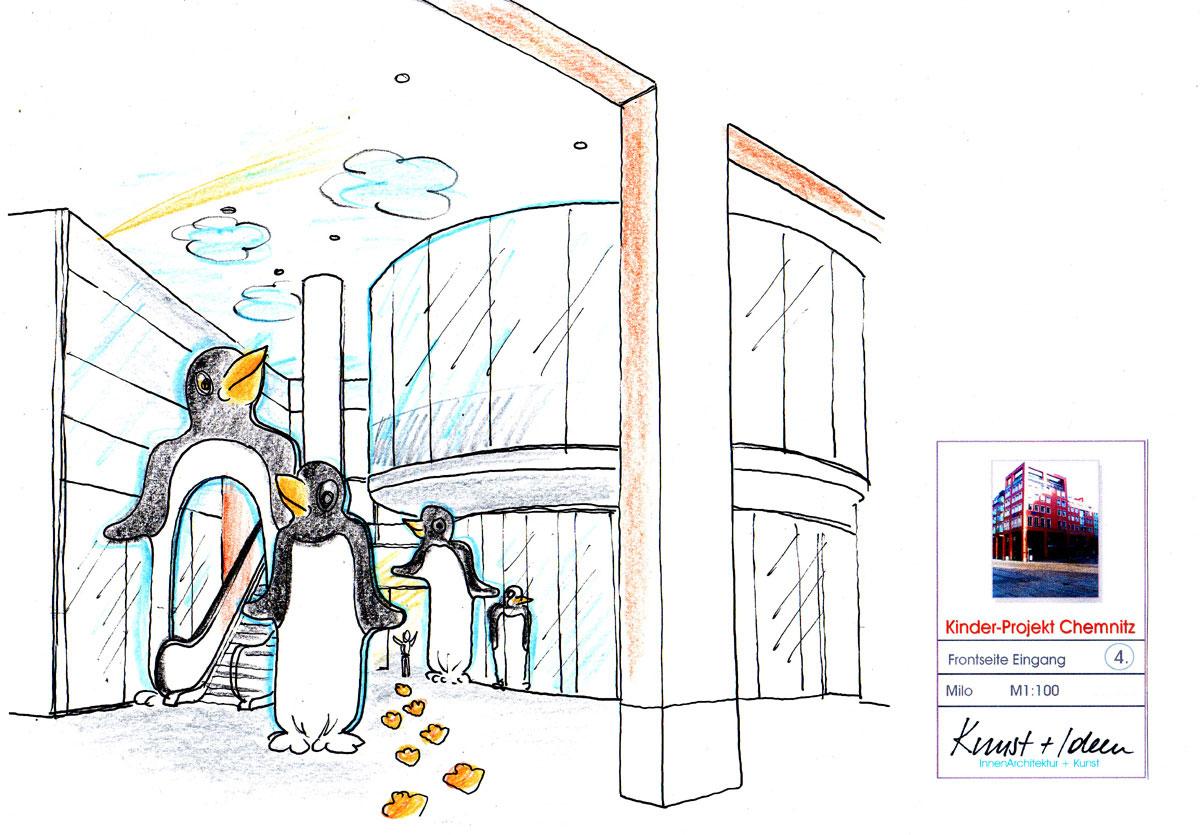 Kinderhaus Chemnitz - Seitenaufgang mit Pinguin Dekoration Objekten - Konzept Design Planung Milo