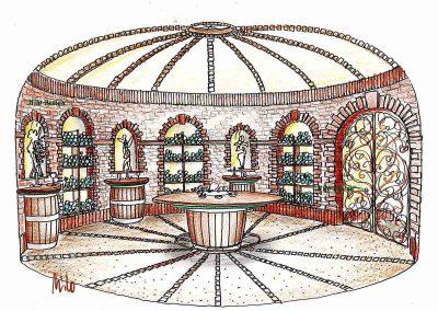 Ziegel Weinkeller Raum Interior Design eine rustikale aber elegante Ausstattung von Milo
