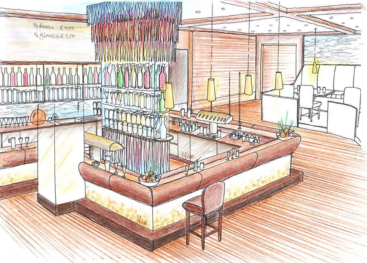 Musik Pub Bar Brasov - dekorative Glas und Led Licht Ausstattung - Innenarchitektur konzept Design Milo