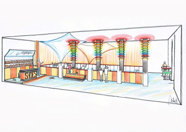 Quetlinburg Entertainment Halle - ein Ice Free Indoor Kunststoff Eislaufbahn - mit Milo´s Raum Dekoration Licht Design Planung