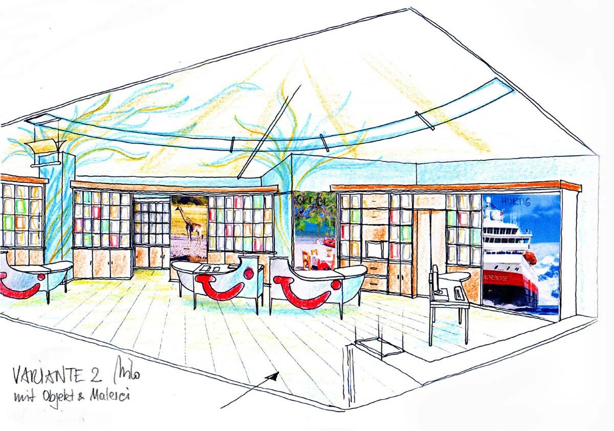 Reisebüro mit einer Kunstmalerei - dekorative Raum und Licht Interior Design Ausstattung von Milo