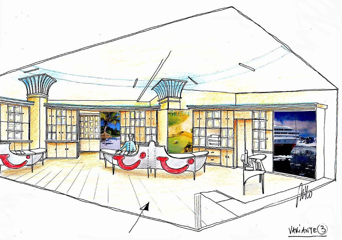 Reisebüro Verkaufsraum - Ideen Konzept Interior Design Planung Milo
