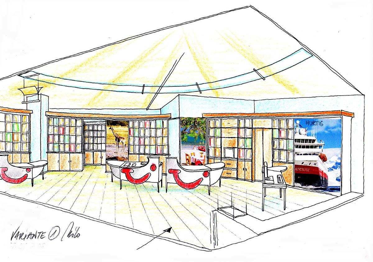 Reisebüro Raum Design - eine Interior Ausstattungs Planung mit halbrunden Regalwänden und davor angeordneten Bürotischen