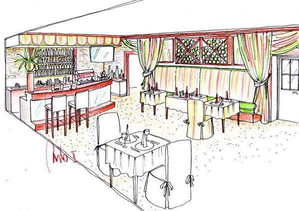 Restaurant und Bar im Hotel Montana - Entwurf Zeichnung für eine dekorative Gastronomie Themen Interior Design Ausstattung von Milo