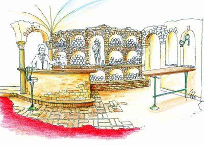 Weinkeller Präsentations Ambiente für ein Hotel und Casino, Interior Design Planung Milo