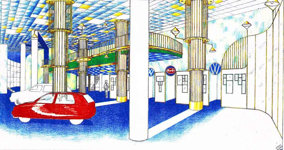 Autohaus Schauraum Showroom - VW und Audi - in einer eleganten Interior Design Ausstattung Planung von Milo