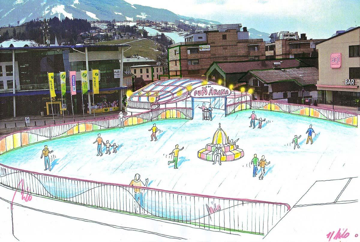 Wintersport Attraktion - Ice Free Eislaufen auf einem Parkhaus Dach - Ideen Design Planung Milo