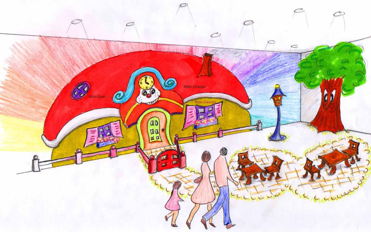 Shopping Center Astana - Klein Kinder Spielhallen Eingang - Konzept Ausstattung Planung