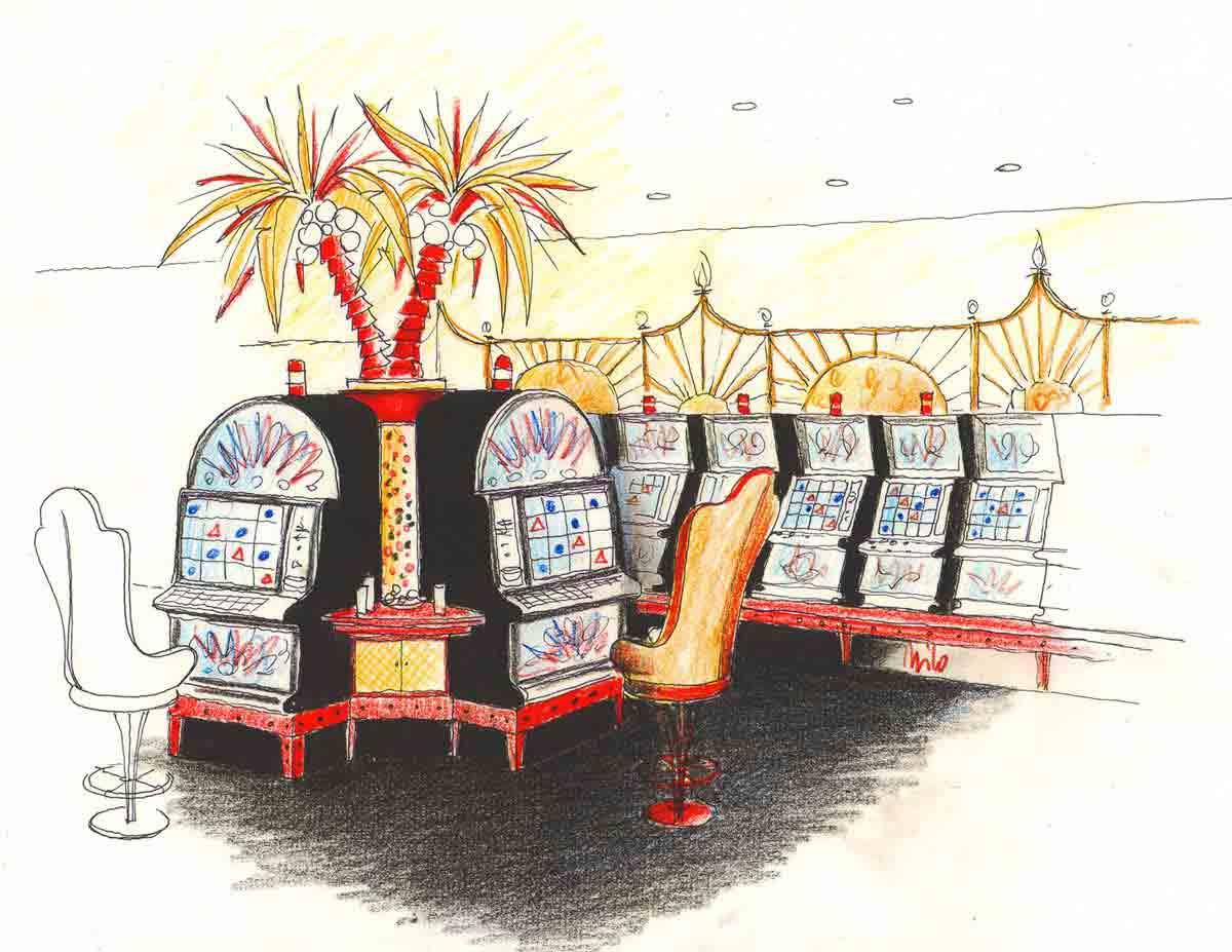 Themen Slot Machine Casino mit einer eleganten Raum Ausstattung und sehr dekorativen Interior Design Planung
