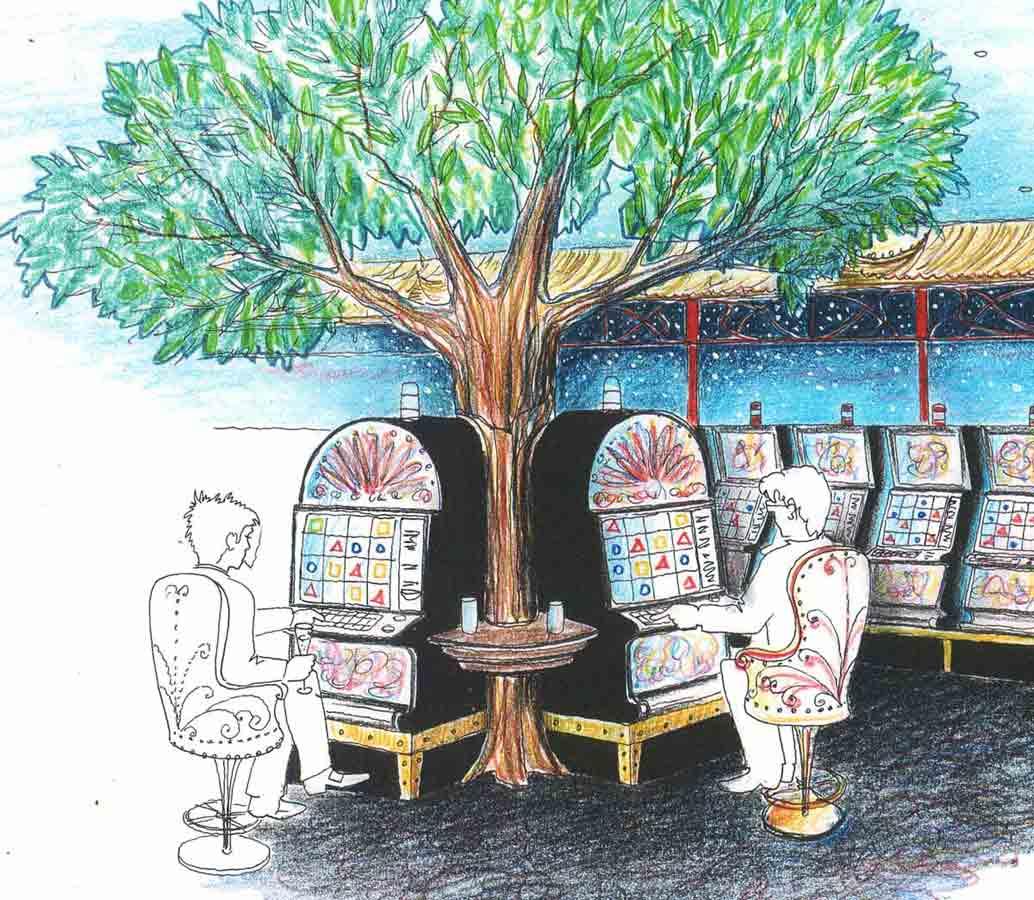 Slot Machine Casino zum Thema Xandu - dekorative Raum Ausstattung Planung und Interior Design von Milo