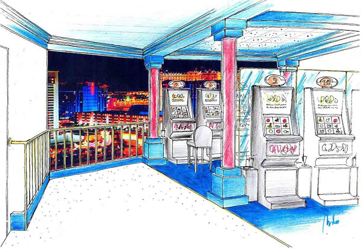 Slot Machine Casino Murau - Innenraum Variante einer Konzept Ausstattung und dem Interior Design von Milo