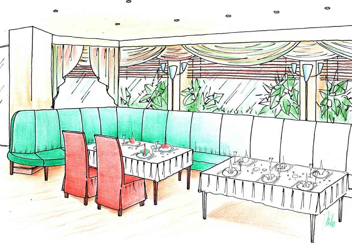 Sitzbereich für das SB Restaurant - mit einfachen eleganten Stilmitteln eine gute Interior Design Ausstattung erzielen