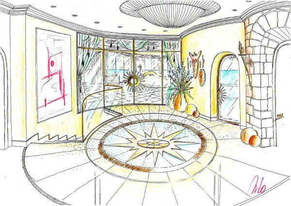 Luxus Villa Spanien - Entwurf der Eingangshalle mit dem Lichtboden und Milo´s Zeichnung der Interior Design Planung und Ausstattung