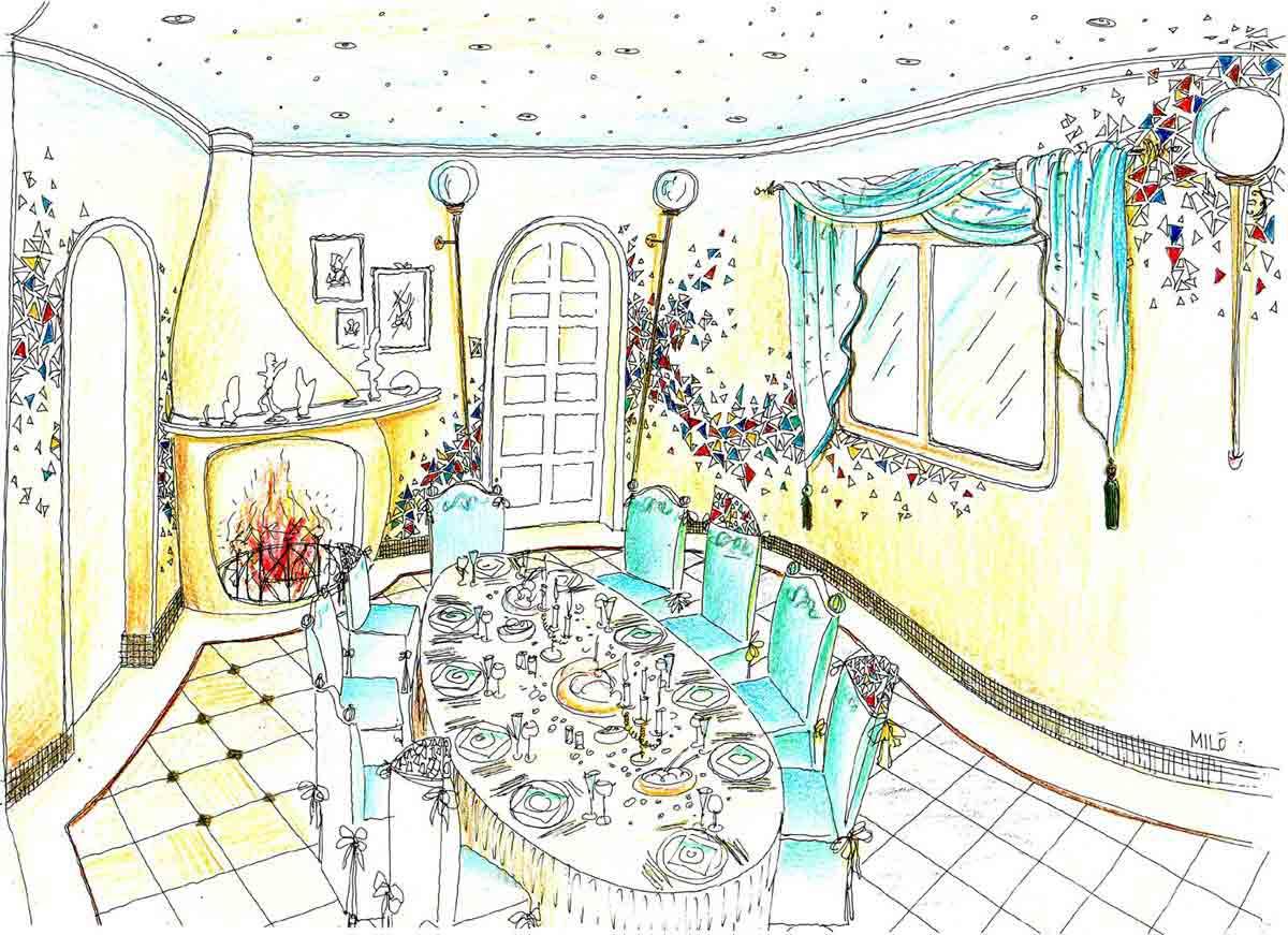 Luxus Villa Spanien - Milo´s Speisezimmer Planung im Stile Gaudi´s in einer eleganten leichten Interior Design Ausstattung