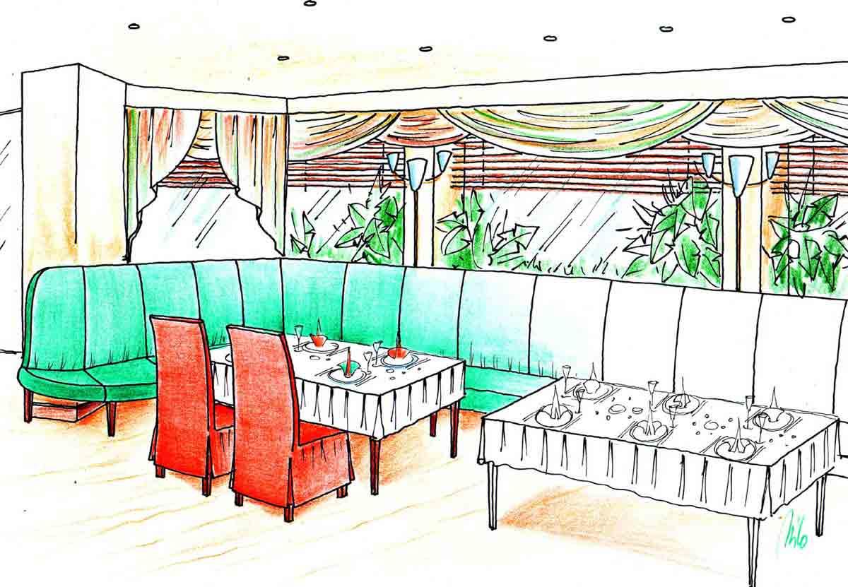 Variante 3 - Elegantester, hochwertigster Themen Restaurant Sitzbereich in Schwechat - Innenarchitektur Design Planung