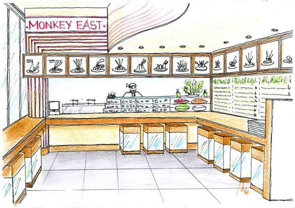 Sushi Restaurant Speisen SB Ideen Variante in einer Milo Interior Design Planung