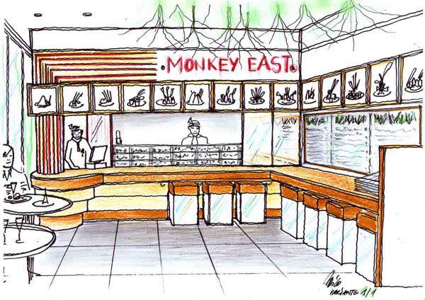 Variante der Sushi Restaurant Ausstattung - mit einer künstlerischen Raum und Licht Gestaltung