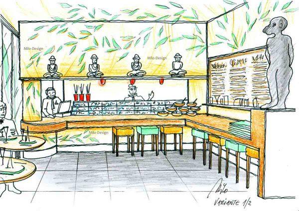 Milo´s Sushi Gastronomie Design Planung - einfach und elegant