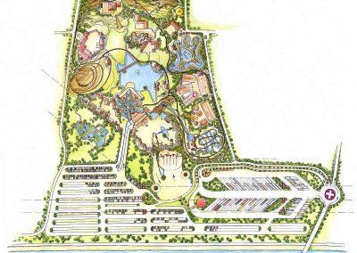 Grundriss Kinder Fun Park - Milo´s Ausstattung Design Planung - für einen großen Erlebnis Park mit Themen rund um die Schweiz