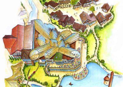 Themen Fun Park Gastronomie und ein Schweizer Dorf - als Zentrum des Parks - Konzept Design Planung Milo