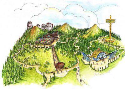 Fun Park mit Schweizer Themen - mit vielen Fahrspielen, Riesenrutschen und anderen Attraktionen - Ausstattung Konzept Design Planung Milo