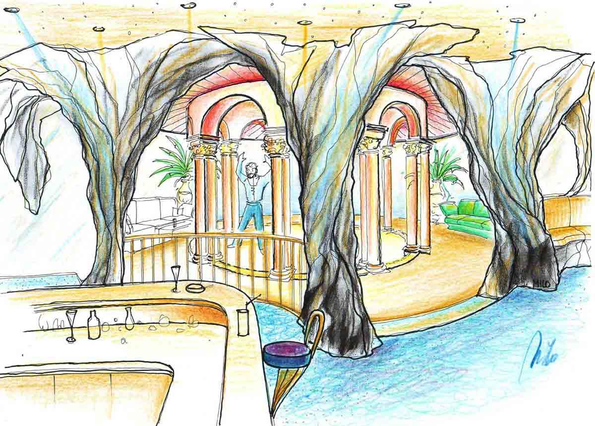 Disco Discothek mit einer Tempel Bar - Großraum Interior Design Konzept Planung Milo