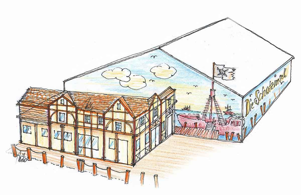 Tennishalle Außen Gestaltung - für neue Adventure Minigolf Anlage - Milo´s Ideen Konzept Design Planung