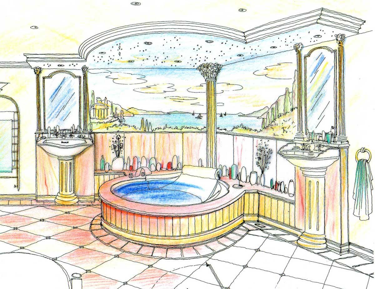 Themen Bad Bäder Ausstattung - mit klassischen Stilelementen und hochwerigen Marmorfliesen - in einer Innenarchitektur Design Planung von Milo