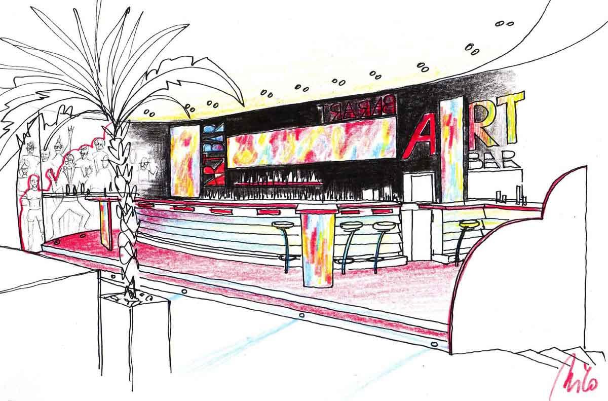 Themen Disco Discothek Planung Ausstattung - Art Licht Bar Konzept Interior Design Planung Milo