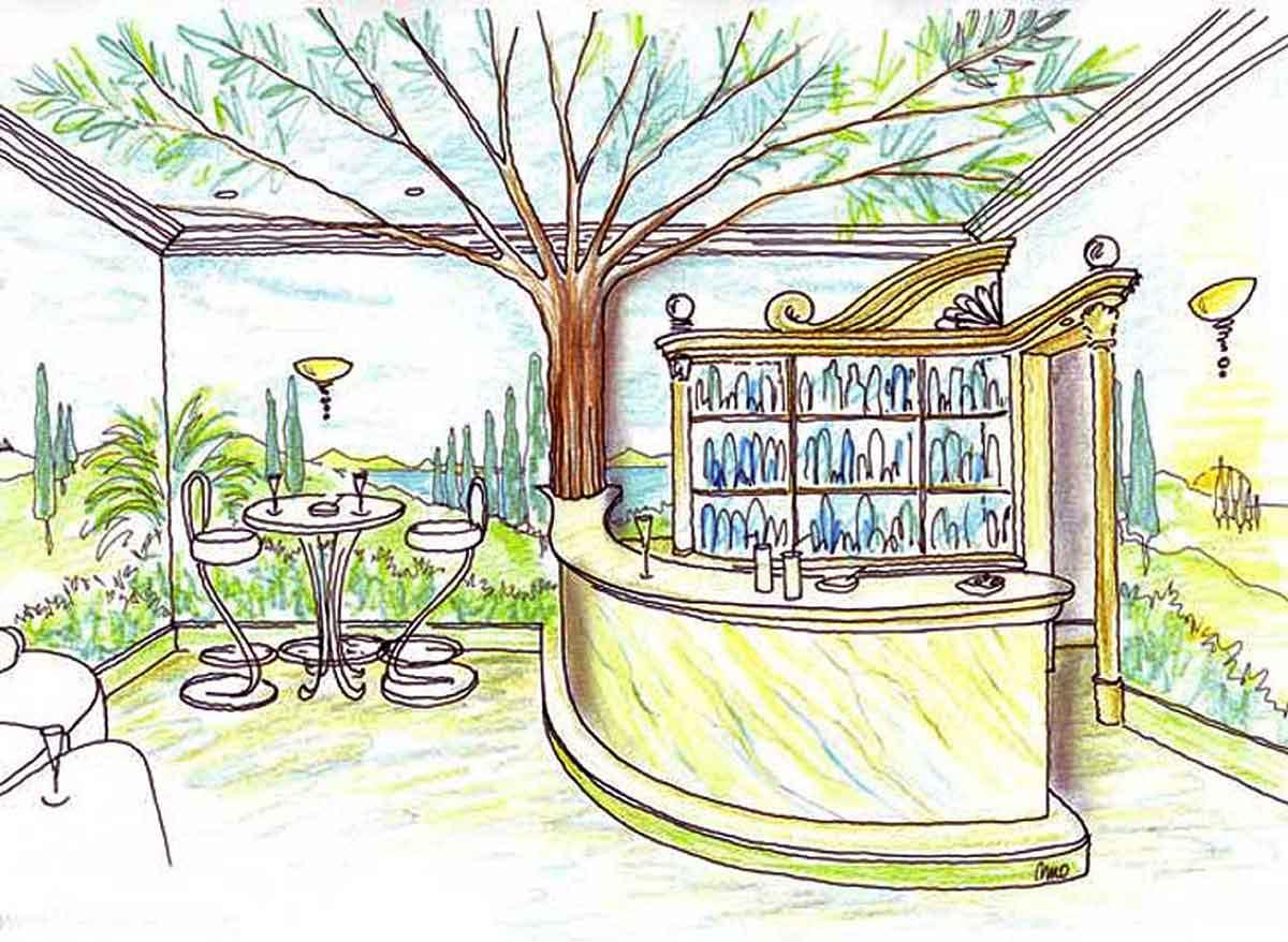 Keller Themen Bar - mit dekorativer Raumausstattung und Kunst Malerei