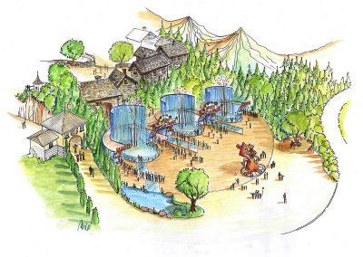 Fun Erlebnis Park - mit Themenausstattungen um die Schweiz - Eingang und Kassenbereich Konzept Design Planung Milo