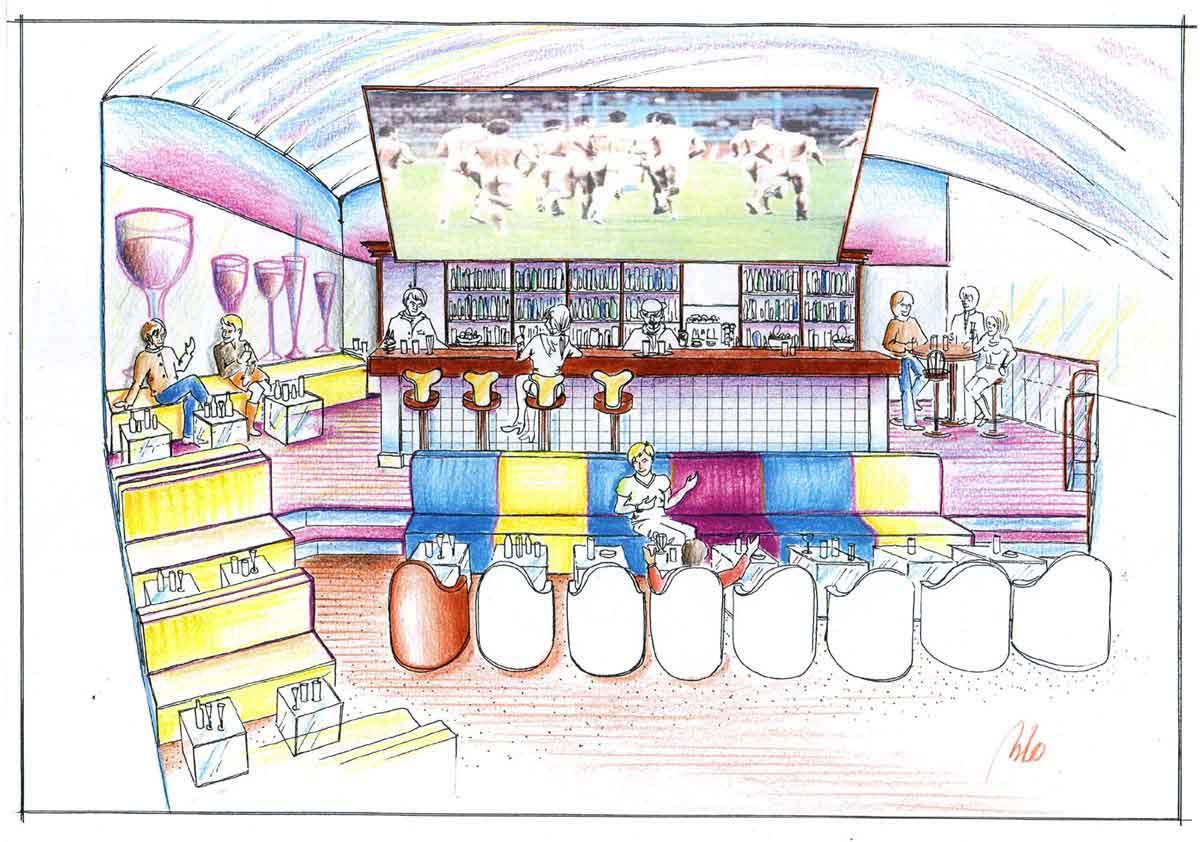 2te Variante - Ideen Skizzen Entwurf für Coffee In Lounge Bar Ausstattung - Milo´s Gastronomie Interior Design Planung