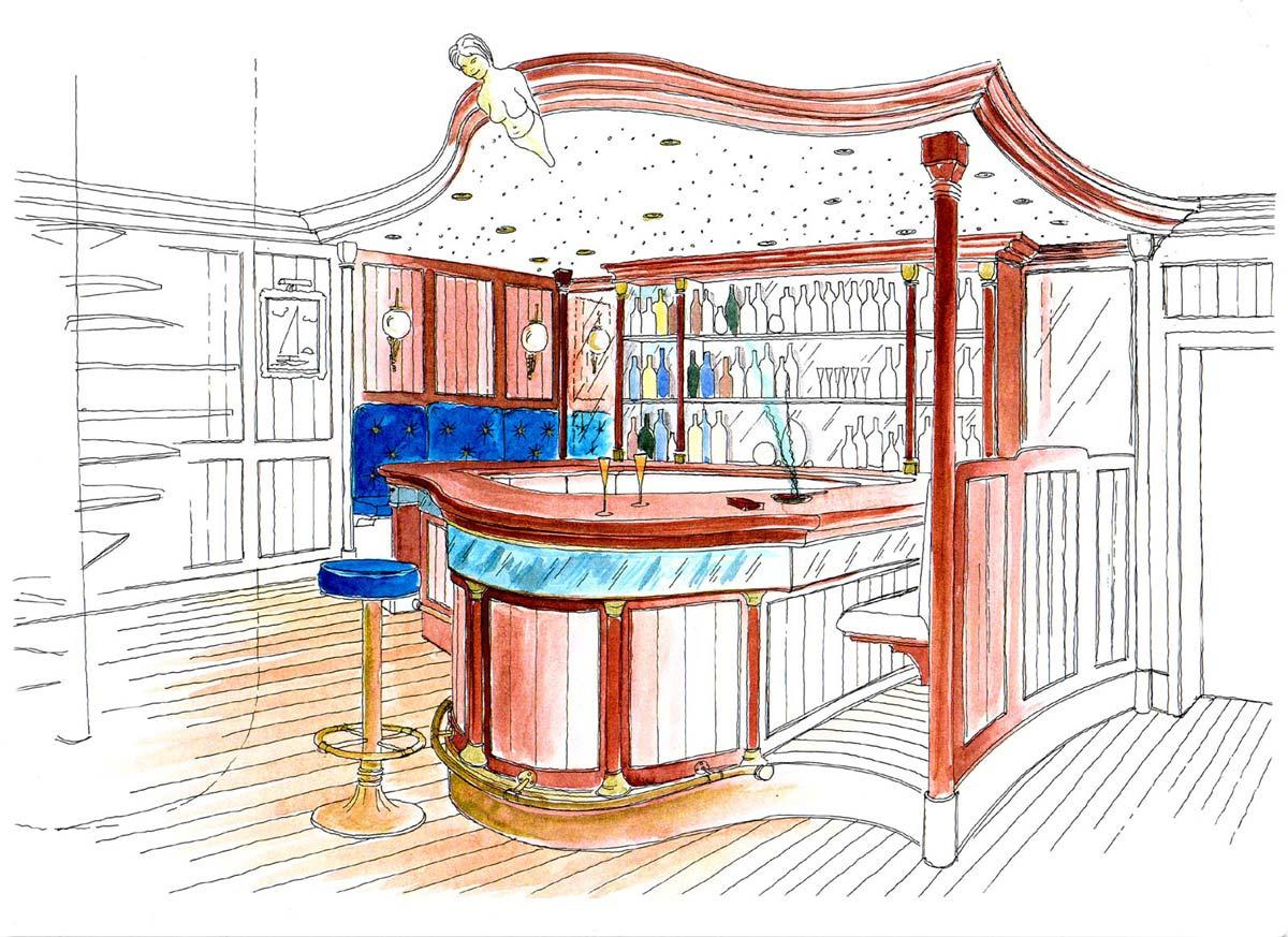 Villa in Hamburg - Maritime Haus Bar durch Wendeltreppe erreichbar - eine elegante Innenarchitektur Interior Design Planung