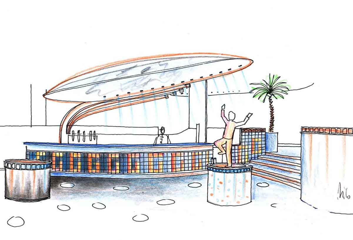 Disco Discotheken Konzept für Vorarlberg - Glas Licht Bar mit tollen Licht Effekten - in Milo´s Interior Design Planung und Ausstattung