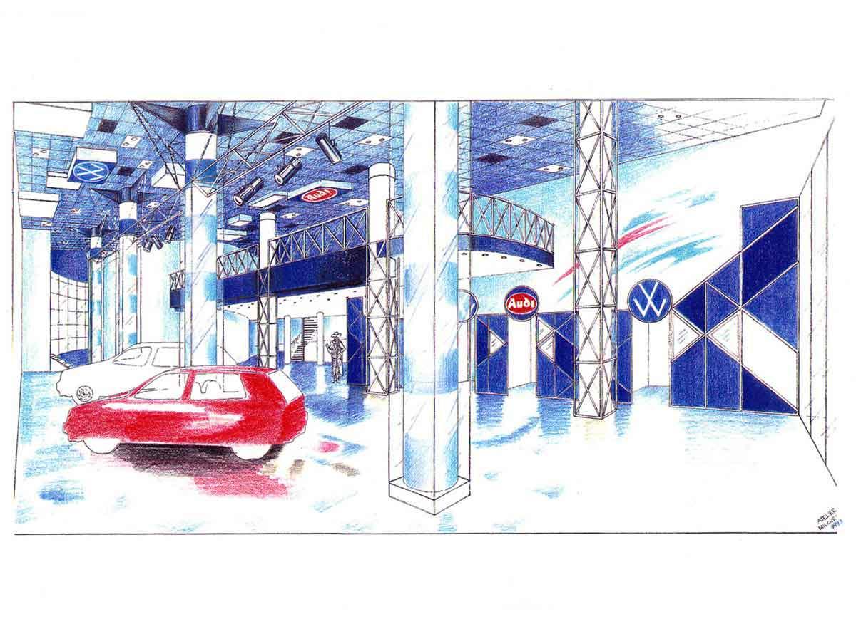 VW und Audi Autohaus Showroom Schauranum Gestaltung - Ideen Konzept Interior Design Planung Milo