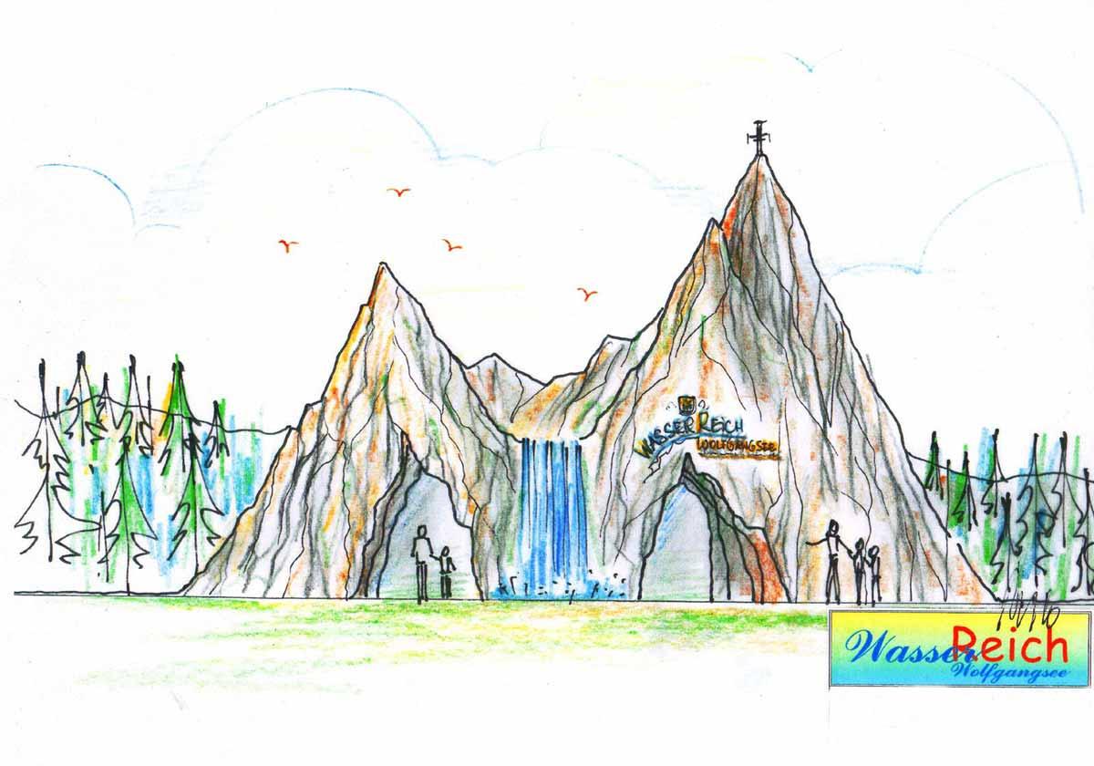 """Wolfgangsee Kinder Themenpark Eingang ins """"Wasserreich"""" eine Ideen Konzept Design Planung von Milo"""
