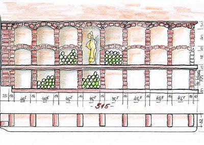 Weinkeller Wand Abwickklung - Skizzen Entwurf für eine Interior Design Planung