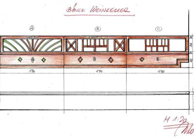 Weinkeller Sitzbank Varianten - Skizzen Interior Design Planung Milo